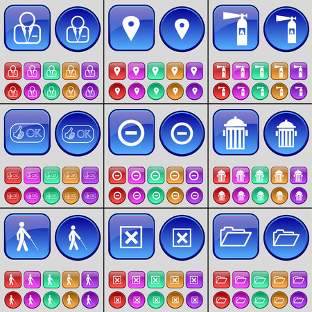 checkpoint: Avatar, Checkpoint, Fire extinguisher, Like, Minus, Trash can, Silhouette, Stop, Folder. A large set of multi-colored buttons. illustration