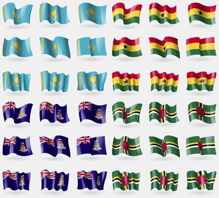 cayman islands: Kazakhstan, Ghana, Cayman Islands, Dominica. Set of 36 flags of the countries of the world. illustration