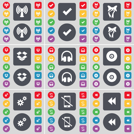 dropbox: Wi-Fi, Tick, Bow, Dropbox, Headphones, Disk, Gear, Smartphones, Rewind icon symbol. A large set of flat, colored buttons for your design. illustration