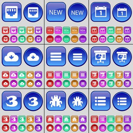 lan: LAN socket, New, Calendar, Cloud, Apps, Diagram, Three, Bug, List. A large set of multi-colored buttons. illustration Stock Photo