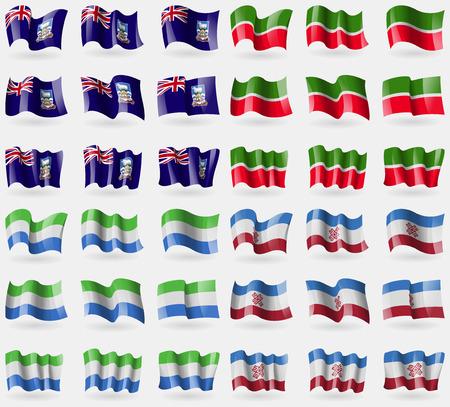 falkland: Falkland Islands, Tatarstan, Sierra Leone, Mari El. Set of 36 flags of the countries of the world. illustration