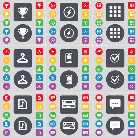 chat bubble icon: Cup, Flash, Apps, Hanger, Mobile phone, Tick, Music file, Record-player, Chat bubble icon symbol. A large set of flat, colored buttons for your design. illustration