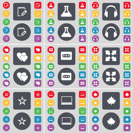 full screen: Notebook, Flask, Headphones, Heart, Cassette, Full screen, Star, Laptop, Maple leaf icon symbol. A large set of flat, colored buttons for your design. illustration