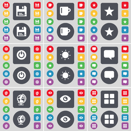 star power: Floppy, Cup, Star, Power, Light, Chat bubble, Globe, Vision, Apps icon symbol. A large set of flat, colored buttons for your design. illustration