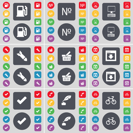 ink pot: Gas station, Numbre, Monitor, Rocket, Basket, Window, Tick, Ink pot, Bicycle icon symbol. A large set of flat, colored buttons for your design. illustration