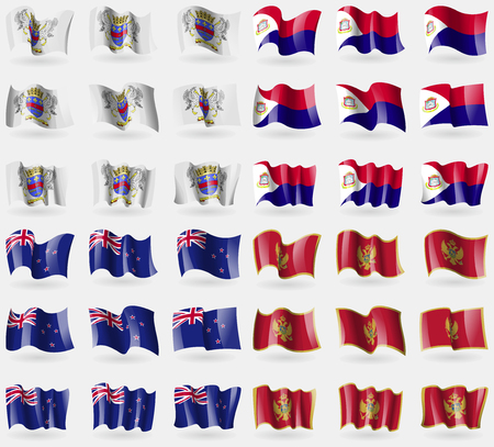 new zeland: Saint Barthelemy, Saint Martin, New Zeland, Montenegro. Set of 36 flags of the countries of the world. illustration