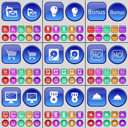 disco duro: SMS, Bombilla, Bono, bolsa de compras, Disco duro, No, monitor, medalla, la bandeja. Un gran conjunto de botones multicolores. ilustración