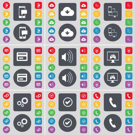 sound card: SMS, Cloud, Connection, Credit card, Sound, Monitor, Gear, Tick, Receiver icon symbol. A large set of flat, colored buttons for your design. illustration Stock Photo