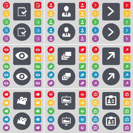 arrow right: Survey, Avatar, Arrow right, Vision, Gallery, Full screen, Film camera, Graph, Contact icon symbol. A large set of flat, colored buttons for your design. illustration