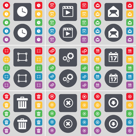 arrow down icon: Clock, Media player, Message, Frame, Gear, Calendar, Trash can, Stop, Arrow down icon symbol. A large set of flat, colored buttons for your design. illustration