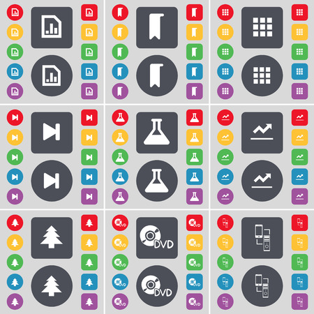 firtree: Diagram file, Marker, Apps, Media skip, Flask, Graph, Firtree, DVD, Connection icon symbol. A large set of flat, colored buttons for your design. illustration Stock Photo