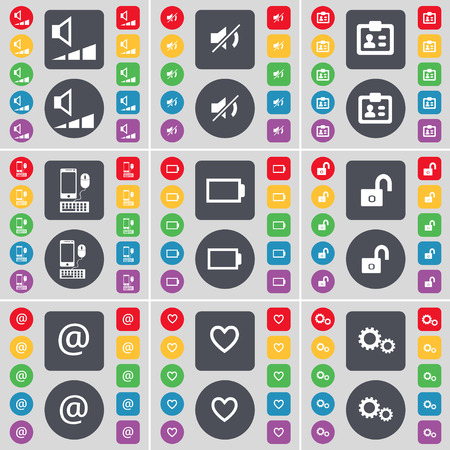 heart gear: Volume, Mute, Contact, Smartphone, Battery, Lock, Mail, Heart, Gear icon symbol. A large set of flat, colored buttons for your design. illustration Stock Photo