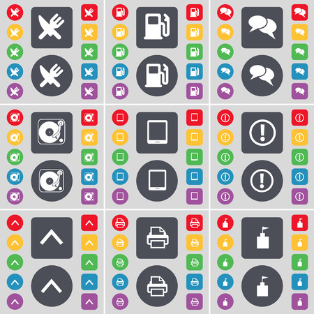 chat up: Fork and knife, Gas station, Chat, Gramophone, Tablet PC, Warning, Arrow up, Printer, Flag tower icon symbol. A large set of flat, colored buttons for your design. illustration