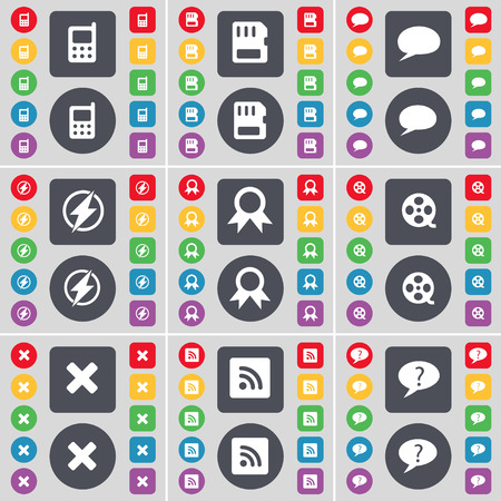 sim card: Mobile phone, SIM card, Chat bubble, Flash, Medal, Videotape, Stop, RSS, Chat bubble icon symbol. A large set of flat, colored buttons for your design. illustration
