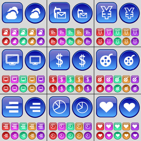 videotape: Cloud, SMS, Yen, Monitor, Dollar, Videotape, List, Diagram, Heart. A large set of multi-colored buttons. illustration Stock Photo
