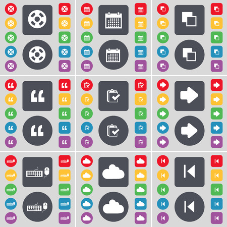 skip: Videotape, Calendar, Copy, Quotation mark, Survey, Arrow right, Keyboard, Cloud, Media skip icon symbol. A large set of flat, colored buttons for your design. illustration
