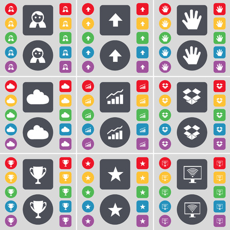 dropbox: Avatar, Arrow up, Hand, Cloud, Graph, Dropbox, Cup, Star, Monitor icon symbol. A large set of flat, colored buttons for your design. illustration