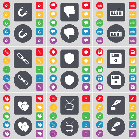 ink pot: Magnet, Dislike, Keyboard, Link, Badge, Floppy, Heart, Retro TV, Ink pot icon symbol. A large set of flat, colored buttons for your design. illustration