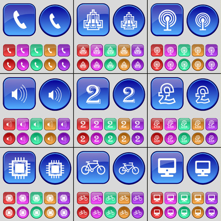 receiver: Receiver, Building, Wi-Fi, Sound, Two, Pound, Processor, Bicycle, Monitor. A large set of multi-colored buttons. illustration Stock Photo