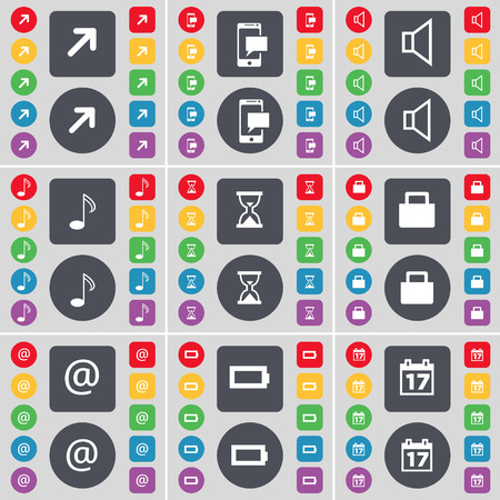 full screen: Full screen, SMS, Sound, Note, Hourglass, Lock, Mail, Battery, Calendar icon symbol. A large set of flat, colored buttons for your design. illustration Stock Photo