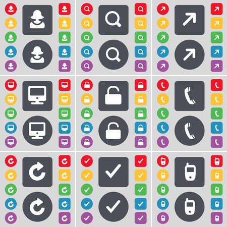 full screen: Avatar, Magnifying glass, Full screen, Monitor, Lock, Receiver, Reload, Tick, Mobile phone icon symbol. A large set of flat, colored buttons for your design. illustration Stock Photo