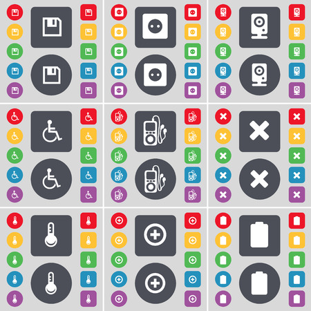 mp3 player: Floppy, Socket, Speaker, Disabled person, MP3 player, Stop, Thermometer, Plus, Battery icon symbol. A large set of flat, colored buttons for your design. illustration Stock Photo