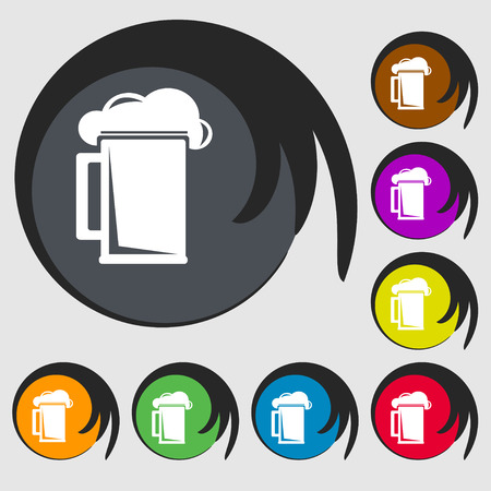 guinness: glass of beer icon sign. Symbol on eight colored buttons. illustration
