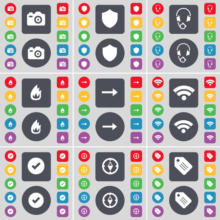 arrow right: Camera, Badge, Headphones, Fire, Arrow right, Wi-Fi, Tick, Compass, Tag icon symbol. A large set of flat, colored buttons for your design. illustration