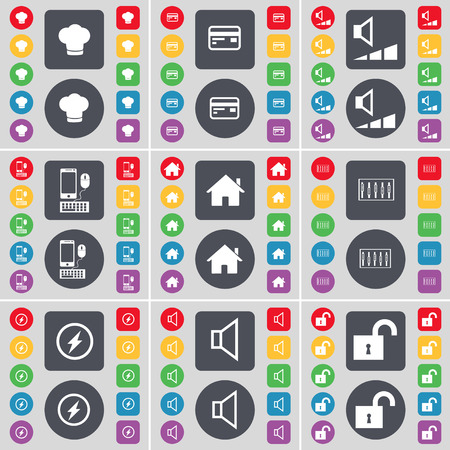 sound card: Cooking hat, Credit card, Volume, Smartphone, House, Equalizer, Flash, Sound, Lock icon symbol. A large set of flat, colored buttons for your design. illustration Stock Photo