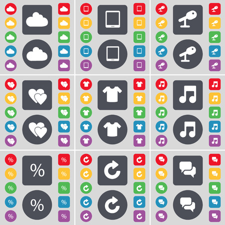 note pc: Cloud, Tablet PC, Microphone, Heart, T-Shirt, Note, Percent, Reload, Chat icon symbol. A large set of flat, colored buttons for your design. illustration