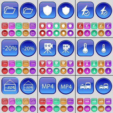 mp4: Folder, Badge, Flash, Diagram, Film camera, Thermometer, Dislike, MP4, Transport. A large set of multi-colored buttons. illustration
