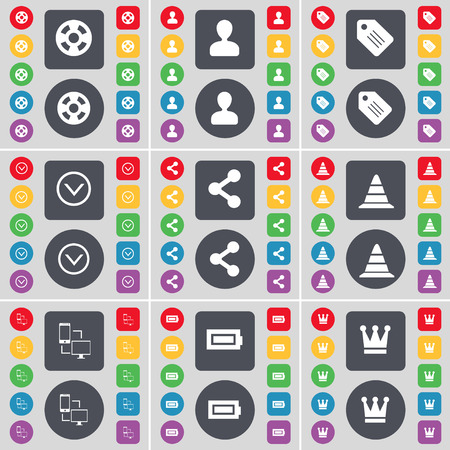 videotape: Videotape, Avatar, Tag, Arrow down, Share, Cone, Connection, Battery, Crown icon symbol. A large set of flat, colored buttons for your design. illustration