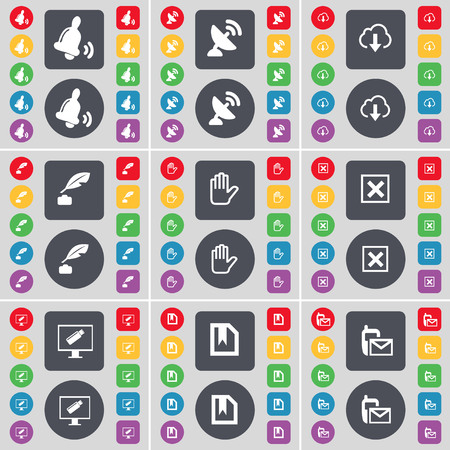 ink pot: Bell, Satellite dish, Cloud, Ink pot, Hand, Stop, Monitor, File, Message icon symbol. A large set of flat, colored buttons for your design. illustration