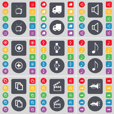 retro tv: Retro TV, Truck, Sound, Plus, Wrist watch, Note, Copy, Clapper, Trumped icon symbol. A large set of flat, colored buttons for your design. illustration