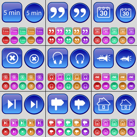 skip: 5 minutes, Quotation mark, Calendar, Stop, Headphones, Trumpet, Media skip, Sign, House. A large set of multi-colored buttons. illustration