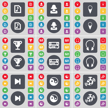 skip: Music file, Avatar, Checkpoint, Cup, Record-player, Headphones, Media skip, Yin-Yang, Speaker icon symbol. A large set of flat, colored buttons for your design. illustration