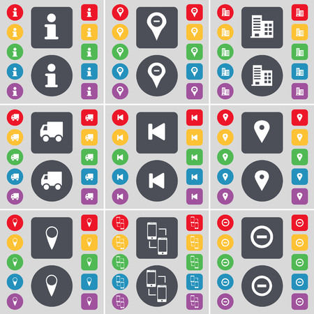 checkpoint: Information, Checkpoint, Building, Truck, Media skip, Checkpoint, Connection, Minus icon symbol. A large set of flat, colored buttons for your design. illustration Stock Photo