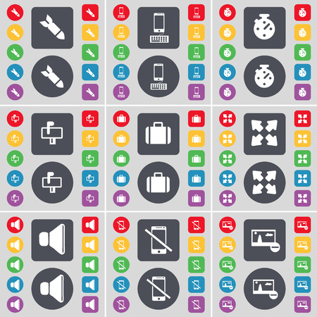 smartphone icon: Rocket, Smartphone, Stopwatch, Mailbox, Suitcase, Full screen, Sound, Smartphone, Picture icon symbol. A large set of flat, colored buttons for your design. illustration Stock Photo