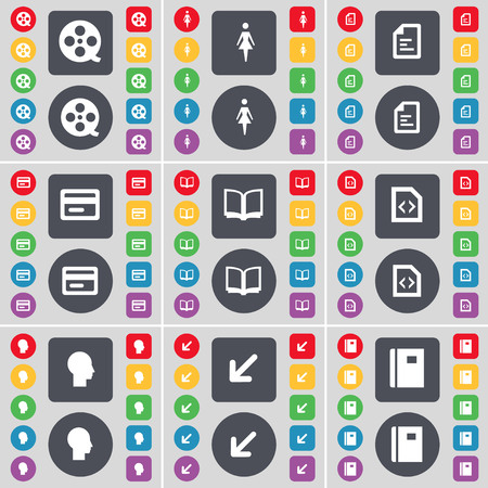 videotape: Videotape, Silhouette, Text file, Credit card, Book, File, Silhouette, Deploying screen, Notebook icon symbol. A large set of flat, colored buttons for your design. illustration