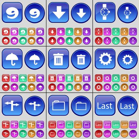 wrist watch: Nine, Arrow down, Wrist watch, Umbrella, Trash can, Gear, Signpost, Folder, Last. A large set of multi-colored buttons. illustration