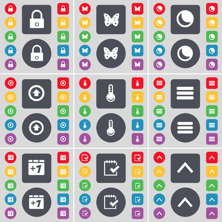 lock up: Lock, Butterfly, Moon, Arrow up, Thermometer, Apps, Plus one, Survey, Arrow up icon symbol. A large set of flat, colored buttons for your design. illustration
