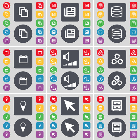 bedtable: Copy, Newspaper, Database, Calendar, Volume, Gear, Checkpoint, Cursor, Bed-Table icon symbol. A large set of flat, colored buttons for your design. illustration