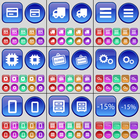 bedtable: Credit, Truck, Apps, Processor, Closed, Gear, Zero, Bed-table, Discount. A large set of multi-colored buttons. illustration Stock Photo