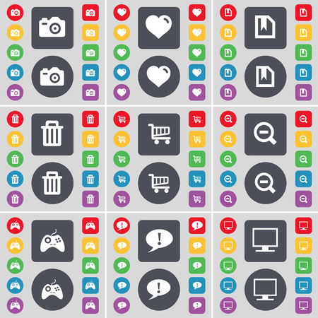 heart monitor: Camera, Heart, File, Trash can, Magnifying glass, Gamepad, Chat bubble, Monitor icon symbol. A large set of flat, colored buttons for your design. illustration