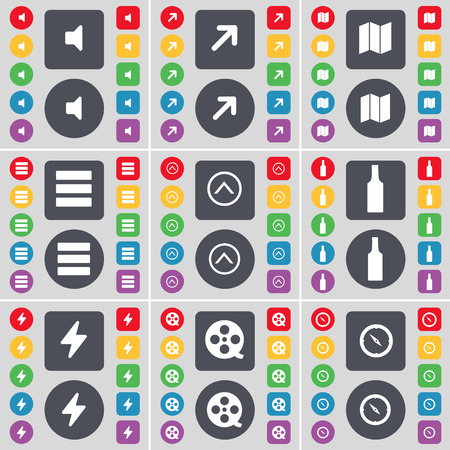 videotape: Sound, Full screen, Map, App, Arrow up, Bottle, Flash, Videotape, Compass icon symbol. A large set of flat, colored buttons for your design. illustration