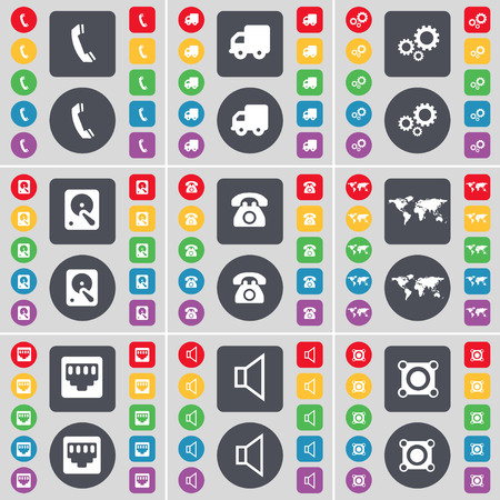 lan: Receiver, Truck, Gear, Hard drive, Retro phone, Globe, LAN socket, Sound, Speaker icon symbol. A large set of flat, colored buttons for your design. illustration