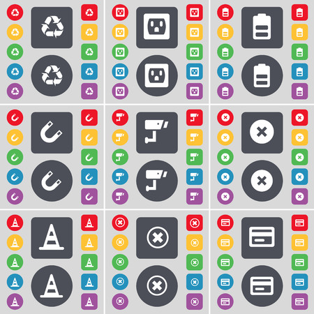 card stop: Recycling, Socket, Battery, Magnet, CCTV, Stop, Cone, Stop, Credit card icon symbol. A large set of flat, colored buttons for your design. illustration