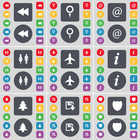 firtree: Rewind, Checkpoint, Mail, Silhouette, Airplane, Information, Firtree, Floppy, Badge icon symbol. A large set of flat, colored buttons for your design. illustration