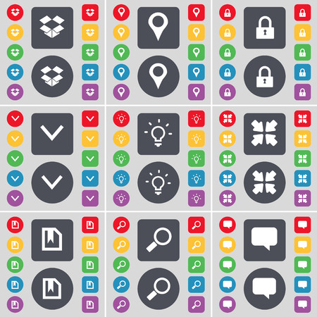 chat bubble icon: Dropbox, Checkpoint, Lock, Arrow down, Light bulb, Deploying screen, File, Magnifying glass, Chat bubble icon symbol. A large set of flat, colored buttons for your design. illustration