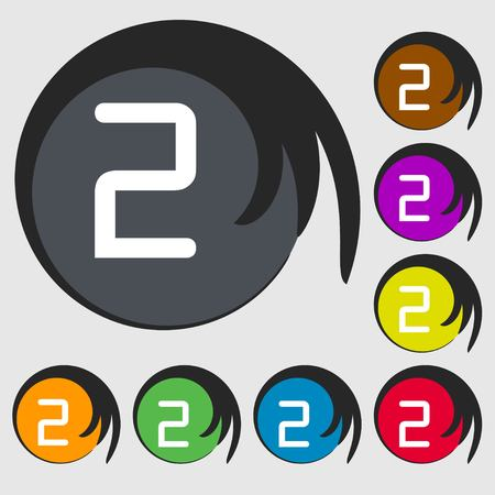 second place: Second place award sign. Winner symbol. Step two.. Symbols on eight colored buttons. illustration